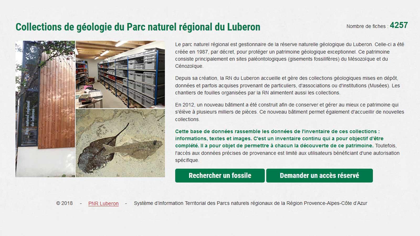Page d'accueil de la base de données des collections (PNRL)