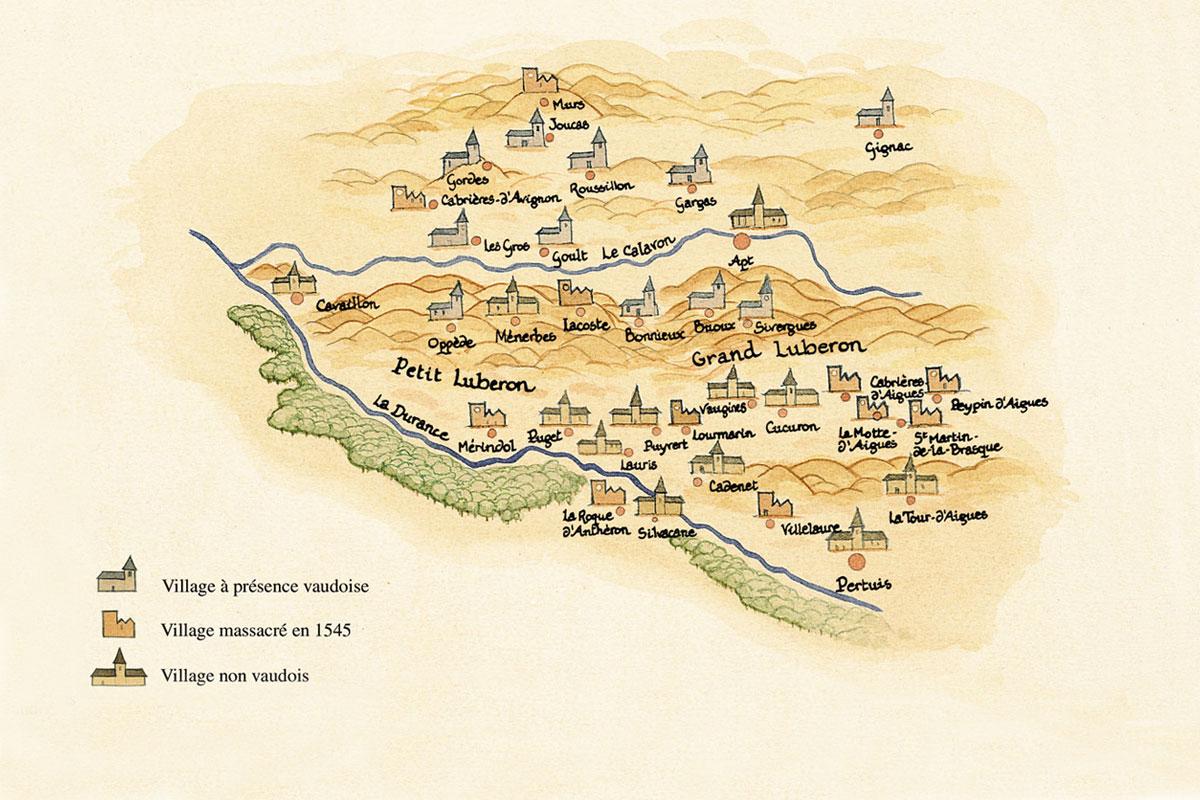 Les villages vaudois du Luberon (Dessin JM Kacedan - Gallimard)