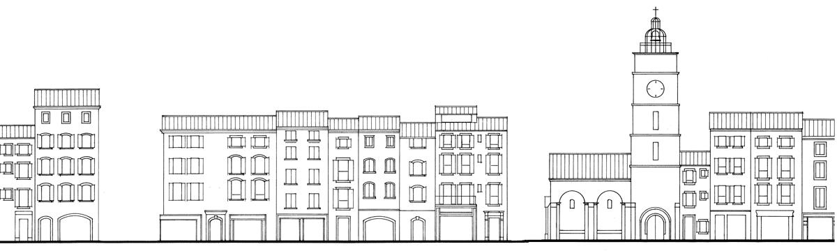 Schéma de principe d'un ensemble de façades urbaines du Luberon