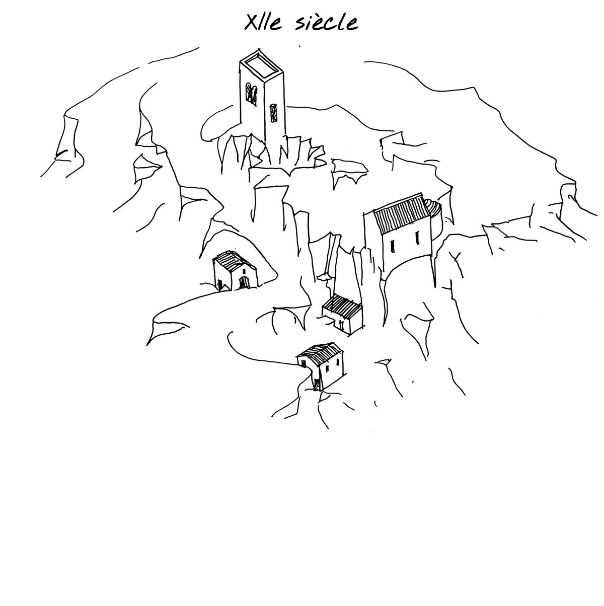 Reconstitution du village de Mérindol au XIIe siècle