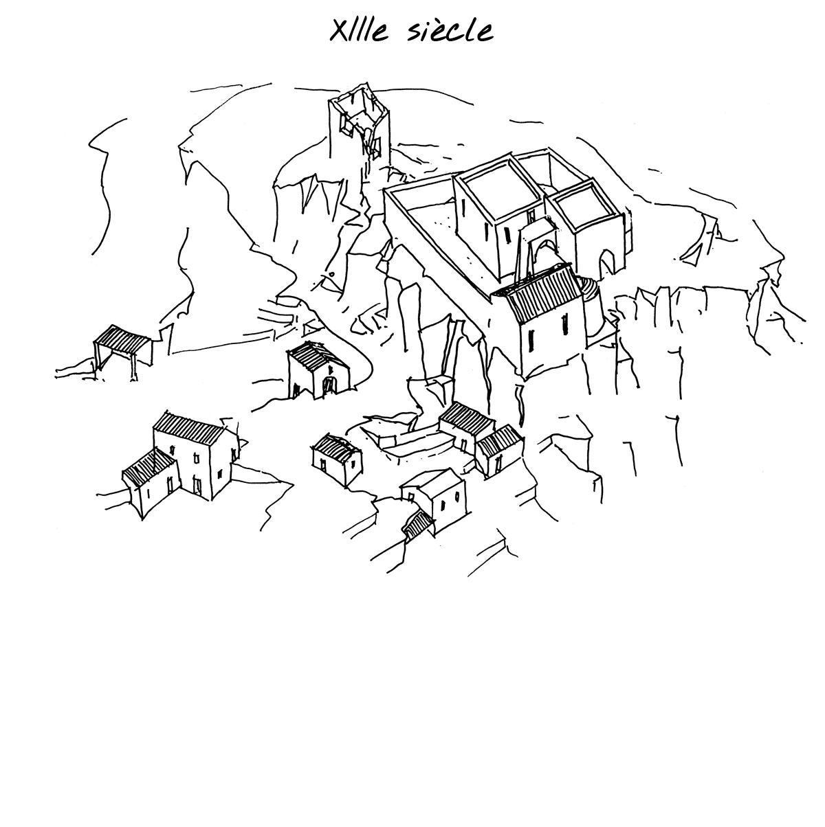 Reconstitution du village de Mérindol au XIIIe siècle