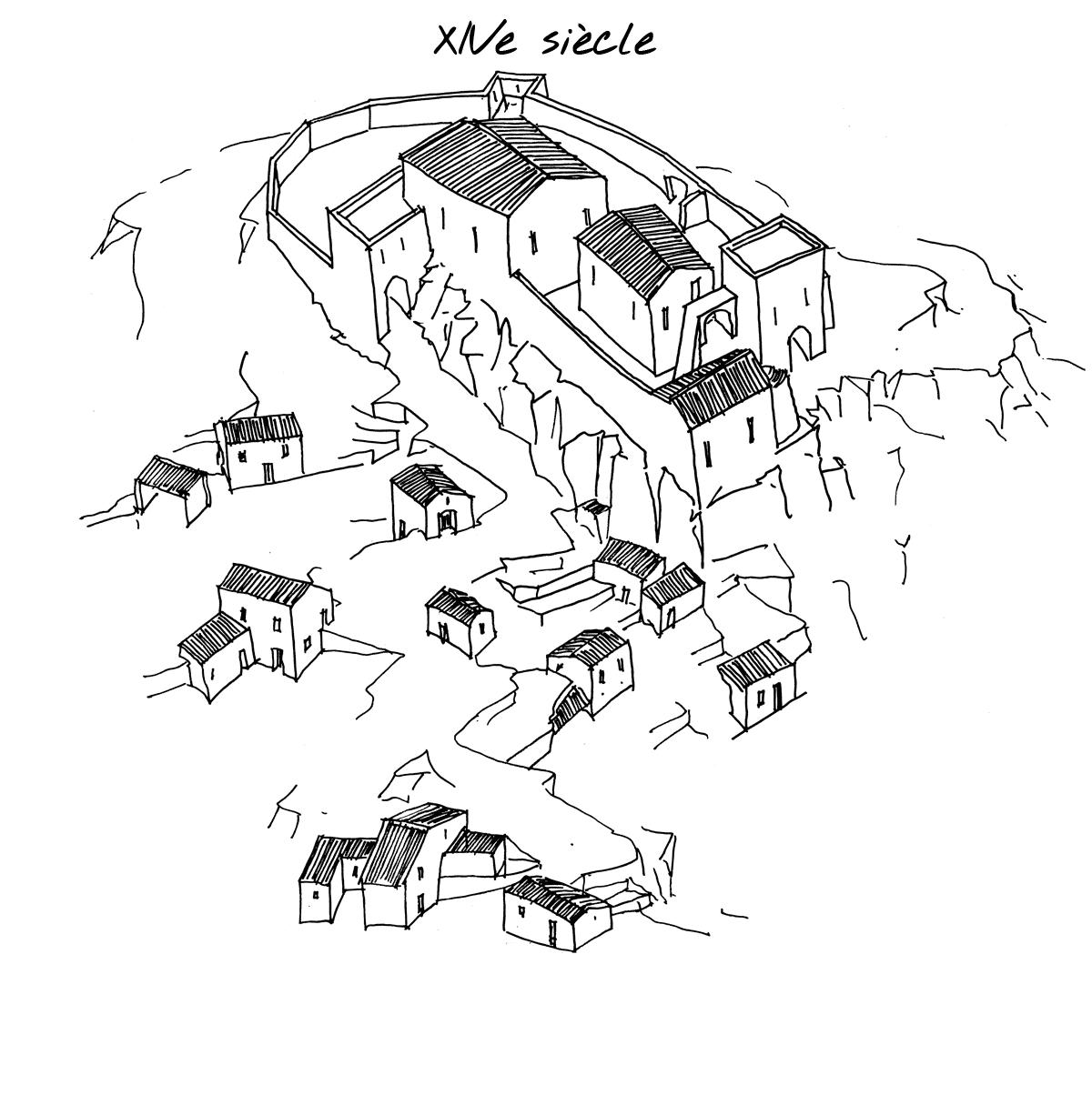 Reconstitution du village de Mérindol au XIVe siècle