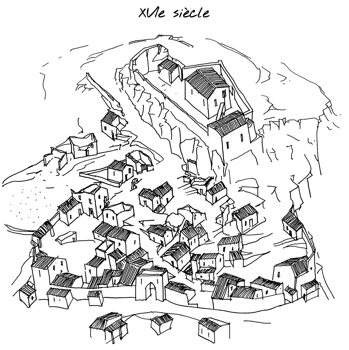 Reconstitution du village de Mérindol au XVIe siècle