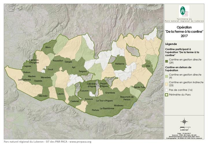 """Carte des communes participant à l'opération """"De la ferme à ta cantine"""" en 2017 (© SIT des PNR PACA)"""