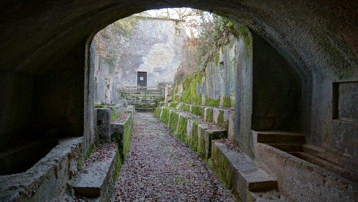 Galerie et tombes rupestres du prieuré de Carluc (photo PNRL - Stéphane Legal)