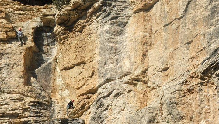 Découverte des vestiges d'occupation humaine sur les parois du vallon de l'Aigubrun (photo PNRL - Éric Garnier)