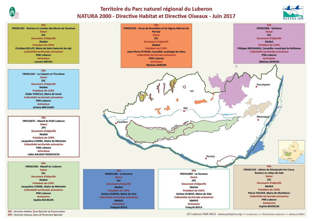 Carte des 9 sites Natura 2000 en Luberon © SIT PNR PACA (juin2017)