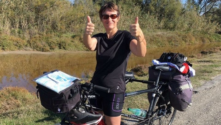 Sylvie Palpant en itinérance à vélo (photo VLP)