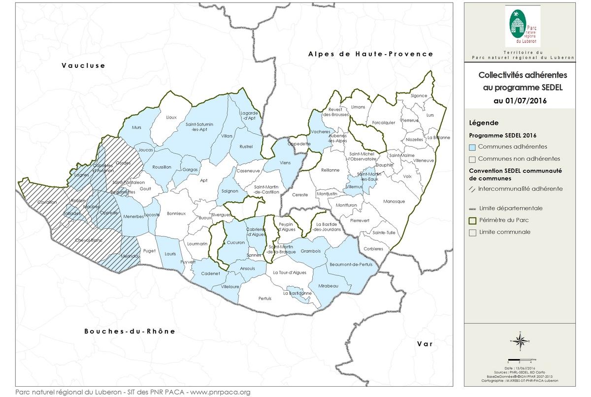 Carte des communes et intercommunalités adhérant au programme Sedel du Parc du Luberon, en 2016 © SIT PNR PACA