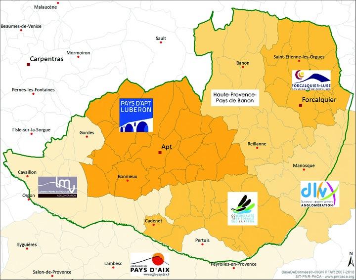 Carte des EPCI participant au plan de paysage Luberon-Lure © SIT PNR PACA