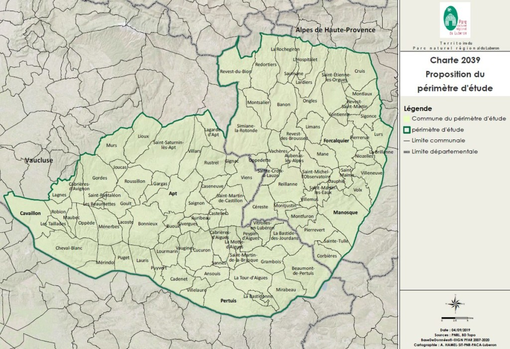 Périmètre d'étude du Parc du Luberon pour 2024-2039 (SIT PNR PACA Arnoul Hamel)