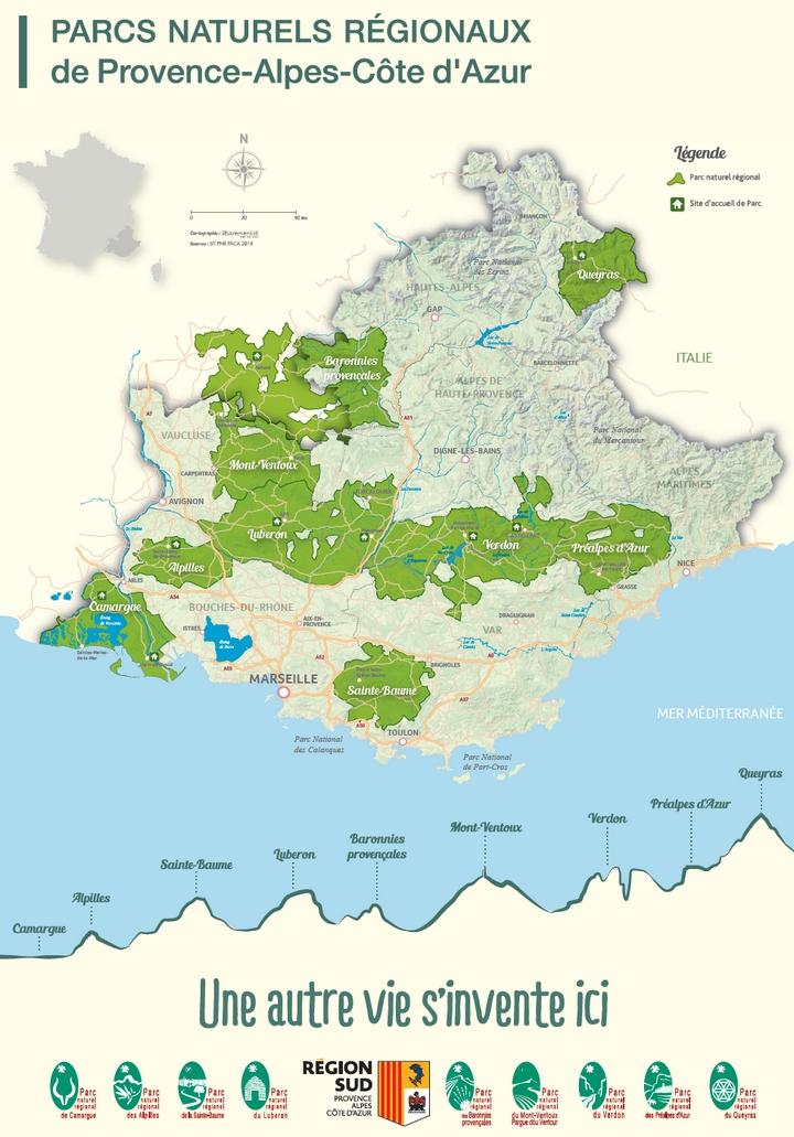 Carte des Parcs naturels régionaux de Provence-Alpes-Côte d'Azur (Crédits : Autrement Dit et SIT PNR PACA)