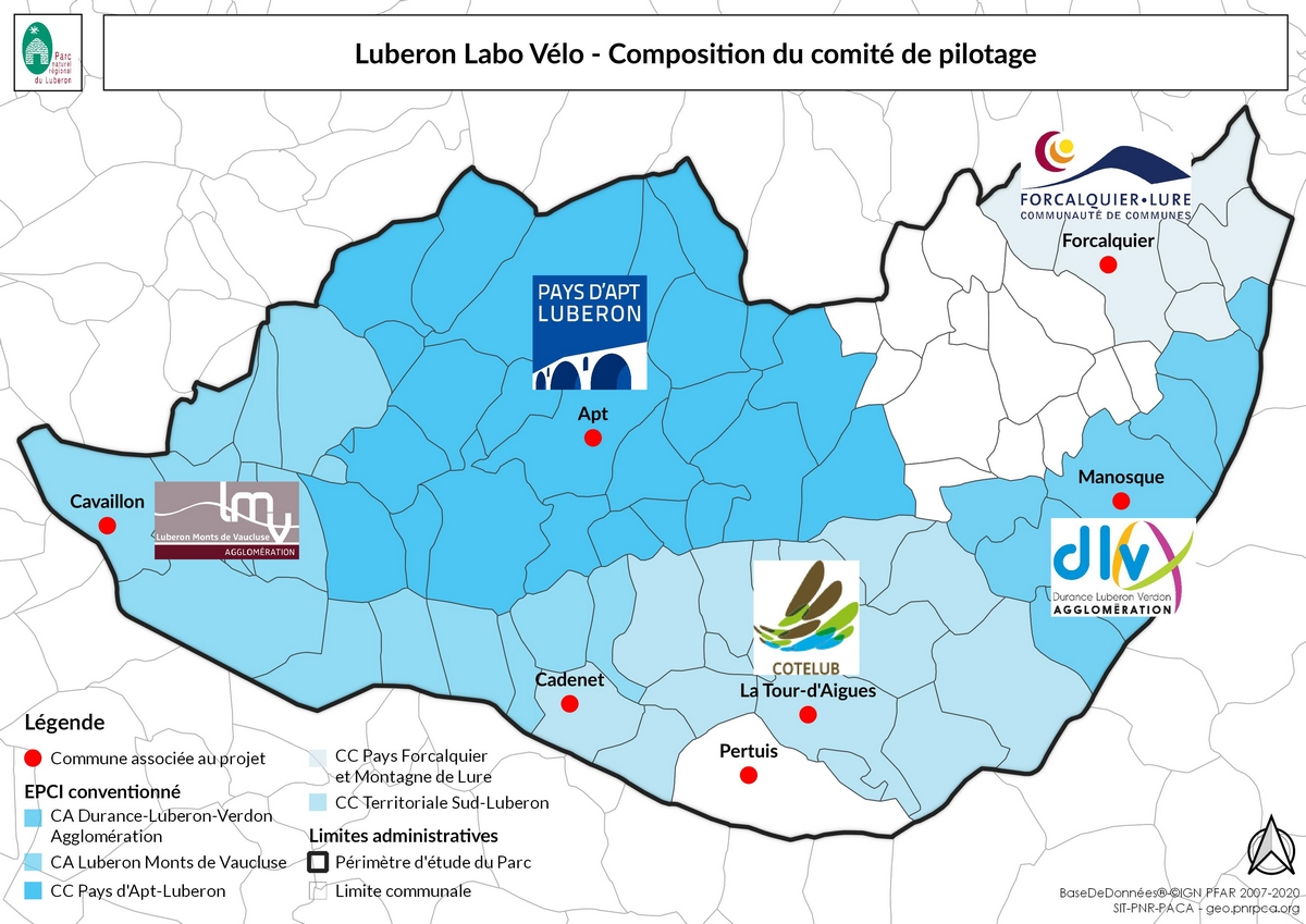 Composition du comité de pilotage LUBERON LABO VÉLO (SIT PNR PACA)
